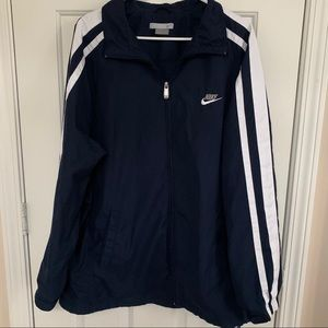 NIKE Zip Up Jacket Mens Size L White Navy Preowned